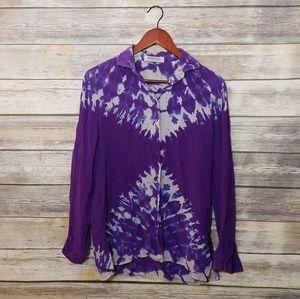 Burberry 100% Silk Purple Tie Dye Blouse Vintage